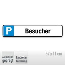Parkplatzschild Symbol: P, Text: Besucher