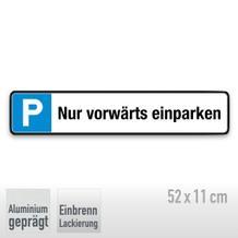 Parkplatzschild Symbol: P, Text: Nur vorwärts einparken
