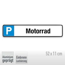 Parkplatzschild Symbol: P, Text: Motorrad