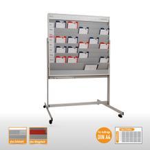 Mobile Planungstafel mit Schuppenschienen und Whiteboard