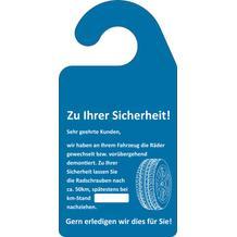 """Hinweis-Spiegelanhänger """"Radschrauben nachziehen"""""""