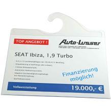 Preisblatt-Tasche - für Innenspiegel - DIN A4 quer - Haken