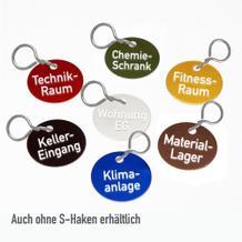Textmarken aus Aluminium eloxiert, mit 2-zeiliger Gravur, mit S-Haken