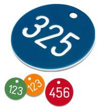 Zahlenmarken aus Kunststoff, 1-3 stellig nummeriert, ohne S-Haken