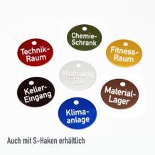 Textmarken aus Aluminium eloxiert, mit 2-zeiliger Gravur