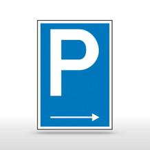 Parkplatzschild Symbol: P mit Richtungspfeil rechts