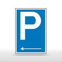 Parkplatzschild Symbol: P mit Richtungspfeil links