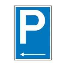 Parkplatzschild - Symbol: P - mit Richtungspfeil links