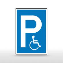 Parkplatzschild Symbol: P, Symbol: Rollstuhlfahrer
