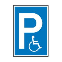 Parkplatzschild - Symbol: P - Rollstuhlfahrer