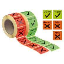 QS-Etiketten auf Rolle - verschiedene Versionen