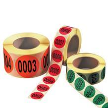 Nummerierte Etiketten auf Rolle - fortlaufend nummeriert 1-1000