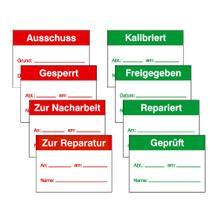 QS-Etiketten für Kennzeichnung, verschiedene Textmotive
