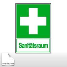 Erste-Hilfe-Kombischild - Sanitätsraum, langnachleuchtend