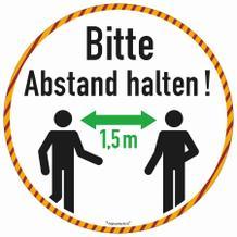 Bodenmarkierung rund - Wartebereich - Bitte Abstand halten! - mit Antirutschbelag