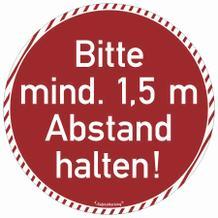 Bodenmarkierung rund - Wartebereich - Bitte mind. 1,5 Meter Abstand halten!