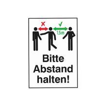 Hinweis-Kombischild - Bitte Abstand halten! - PVC-Folie