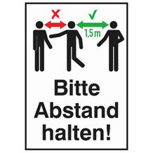 Hinweis-Kombischild - Bitte Abstand halten! - Hartschaumplatte