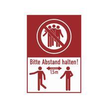 Hinweis-Kombischild aus PVC-Folie - Bitte mind. 1,5 Meter Abstand halten!