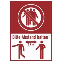 Hinweis-Kombischild aus Hartschaum - Bitte mind. 1,5 Meter Abstand halten!