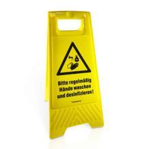 Warnaufsteller - Bitte regelmäßig Hände waschen ...! - 2-seitige Beschriftung