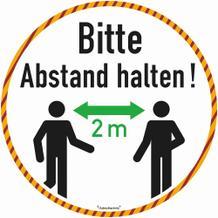 Bodenmarkierung - Antirutschbelag - Rund weiss - Bitte 2 Meter Abstand halten!