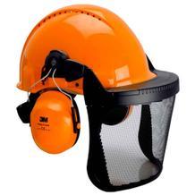 G3000 Kopfschutz-Kombination - Komplettset - Helm - Metallgittervisier - Gehörschutzkapseln