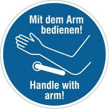 Hinweisschild - Türöffner / Türklinke - Text: Mit dem Arm bedienen!