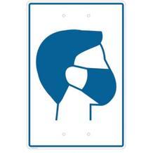 Hinweisschild - zur Pfostenanbringung - Motiv: Mund-Nasen-Schutz benutzen!