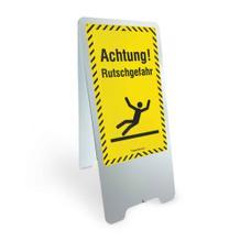 Warnaufsteller - aus Aluminium - Achtung! Rutschgefahr - 2-seitige Beschriftung