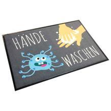 """Schmutzfangmatte - Motiv Virus: """"Kinder, Hände waschen"""" - Querformat"""