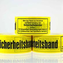 Selbstklebendes PVC-Packband - Text: Sicherheitsband - Gelb oder Weiss