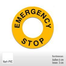 Maschinenkennzeichnung - Text: Emergency Stop