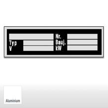 Typenschild zur Selbstbeschriftung  – Typ, V, Nr., Bauj., kW