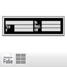 Typenschild auf Bogen  – Typ, V, Nr., Bauj., kW