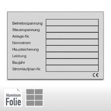 Typenschild auf Bogen  – Betriebsspannung ...