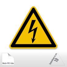Warnschild - Warnung vor elektrischer Spannung (PVC-Folie)