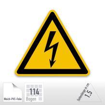 Warnschild - Warnung vor elektrischer Spannung (Folie-Bogen)