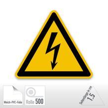 Warnschild - Warnung vor elektrischer Spannung (Folie-Rolle)