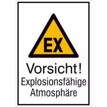 Warn-Kombischild  Vorsicht! Explosionsfähige Atmosphäre
