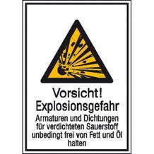 Warnschild Kombischild - Vorsicht! Explosionsgefahr Armaturen