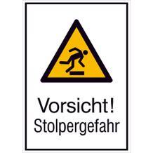 Warn-Kombischild - Vorsicht! Stolpergefahr