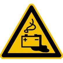 Warnschild - Warnung vor Gefahren durch das Aufladen von  Batterien