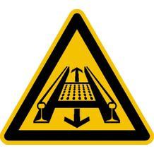 Warnschild - Warnung vor Gefahren durch eine Förderanlage im Gleis