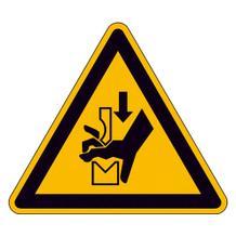 Warnschild - Warnung vor Quetschgefahr der Hand zwischen den Werkzeugen einer Presse