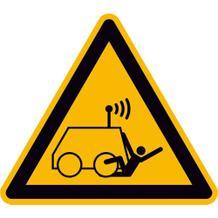 Warnschild - Warnung vor Überrollen durch ferngesteuerte Maschine