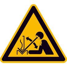 Warnschild - Warnung vor hochschnellendem Werkstück in einer Presse