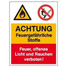 Warn- Verbots- Kombischild Achtung Feuergefährliche Stoffe, Feuer, offenes Licht