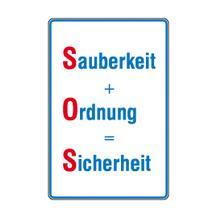 Hinweisschild - Betriebskennzeichnung - Sauberkeit + Ordnung = Sicherheit