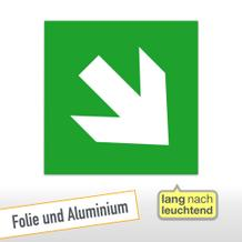 Fluchtweg/Erste Hilfe- Zusatzschild Richtungsangabe schräg